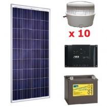 Kit solaire 10 spots LED 12V