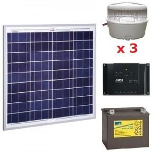 Kit solar 3 spots LED 12V