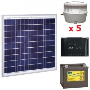 Kit solaire 5 spots LED 12V